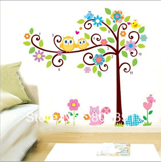2pcs-set-New-removable-vinyl-wall-stickers-Colorful-owl-tree-and-animals-home-decor-Giant-wall.jpg (561×565)