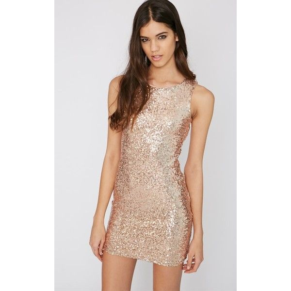 Emory Rose Gold Cut Out Sequin Dress (£9) ❤ liked on Polyvore featuring dresses, yellow, sequin cocktail dresses, sequin party dresses, bodycon dress, body con dress and sexy party dresses