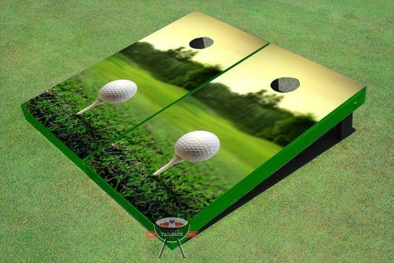 Custom Corn Hole Golf Tee Sunset Graphic Cornhole Boards Etsy Cornhole Golf Tees Golf