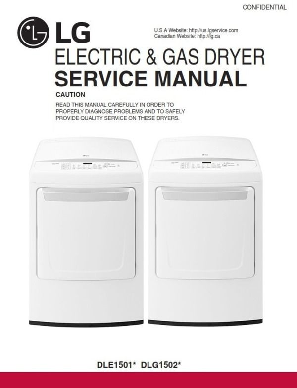 Lg Dle1501w Dlg1502w Dryer Service Manual And Repair Guide Repair Guide Manual Repair