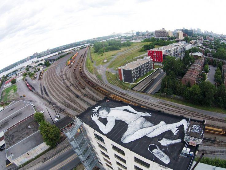 Giant Rooftop Murals by Ella & Pitr in Montreal - JOQUZ