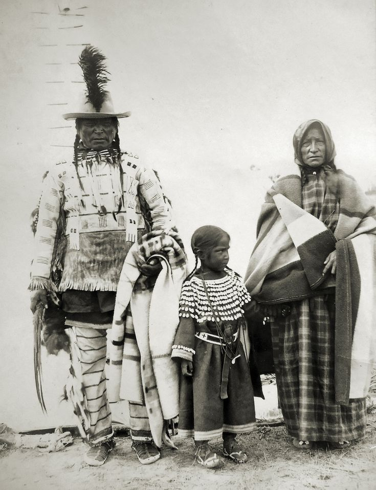 Assiniboine Indians  Long Knife with his wife and granchild. Assiniboine Indians- Photo taken by my 3rd Great Uncle at Fort Belknap, Montana, 1899