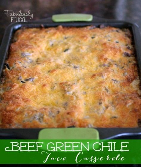 Warm memories of Mom, yep, that's what Beef Green Chile Taco Casserole imparts.  It was on her monthly rotation and I always loved it.