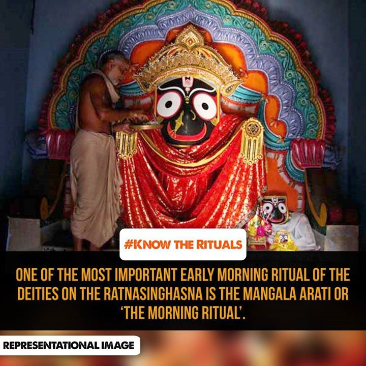 #‎KnowTheRituals‬ The most important early morning niti is Mangala arati. (worship with camphor and lamp). Bhitarchu mohapatra performs arati for Jagannatha while the two Pushpalaks perform arati for Balabhadra and Subhadra.