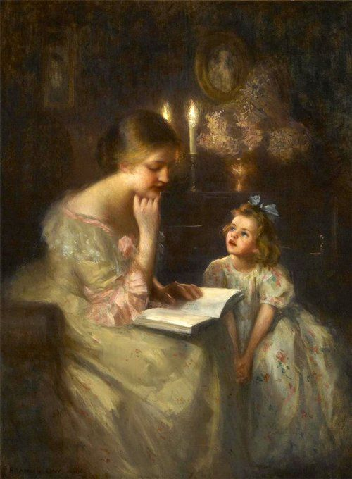 A Story Read by Candlelight. James Francis Day (1863-1942), American artist. #reading #books