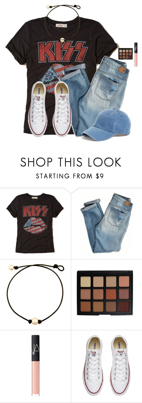 """""""2 more days until Spring Break!!!"""" by victoriaann34 on Polyvore featuring Hollister Co., American Eagle Outfitters, Morphe, NARS Cosmetics, Converse and American Needle"""