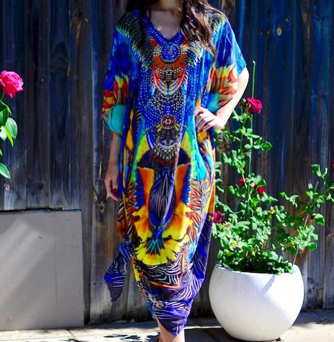 Long peacock kaftan in stores and online 💙☀️🌻#kaftan#peacock#sydneyfashion#newarrivals#loveit  We ship worldwide xox https://dollhousedesign.com.au/new-arrivals/peacock-long-kaftan.html