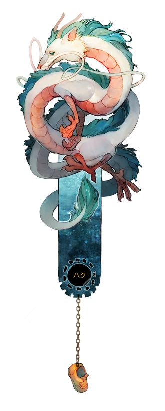 """THIS IS A PREORDER. ITEM WILL BE SEND ONLY STARTING FROM THE BEGINING OF OCTOBER.  An original Bookmarks featuring """"Haku"""" from Spirited away ©Studio Ghibli.  The picture is printed on an irised golden paper, with a true metalic chain. Cut and assembled by hand."""