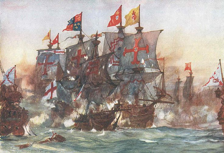 File:The Last fight of the Revenge off Flores in the Azores 1591 by Charles Dixon.jpg