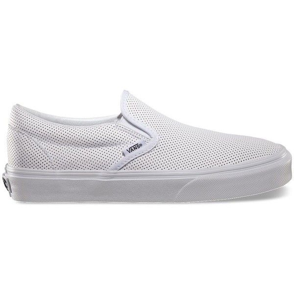 Vans Perf Leather Slip-On ($60) ❤ liked on Polyvore featuring shoes, sneakers, vans, leder, schuhe, white, white low top sneakers, white trainers, perforated slip on sneakers and vans sneakers
