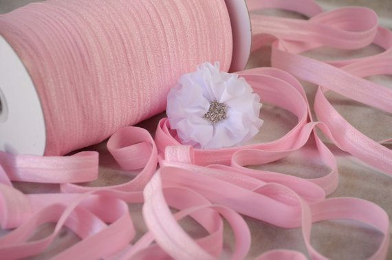 "SHIPS FAST! 5/8"" Fold Over Elastic, Pink Elastic, FOE, Shiny Elastic, Elastic By the Yard, Headband Elastic, Diy Headband"