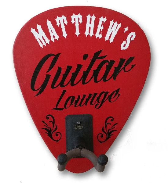 Personalized wall mounted guitar holder will hold any electric or acoustic guitar. Includes the Guitar Swing guitar holder and personalized with two lines of text. Features: - Size 13.5'' x 11'' x 3''