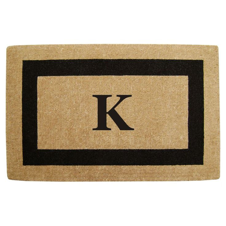 Enterprises Elegant Heavy Duty Coir Monogrammed Black Door Mat (22 in. x 36 in. Black Monogrammed K)
