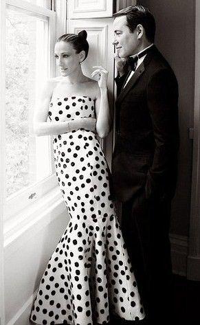 black + white polka dot gown | sjp + mb