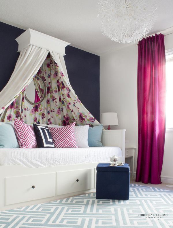 Big Girl Room featuring a fab canopy and an IKEA daybed - Project Junior
