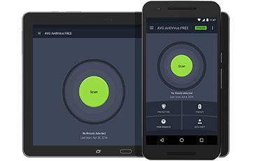 Android tablet and phone with AVG AntiVirus FREE for Android UI