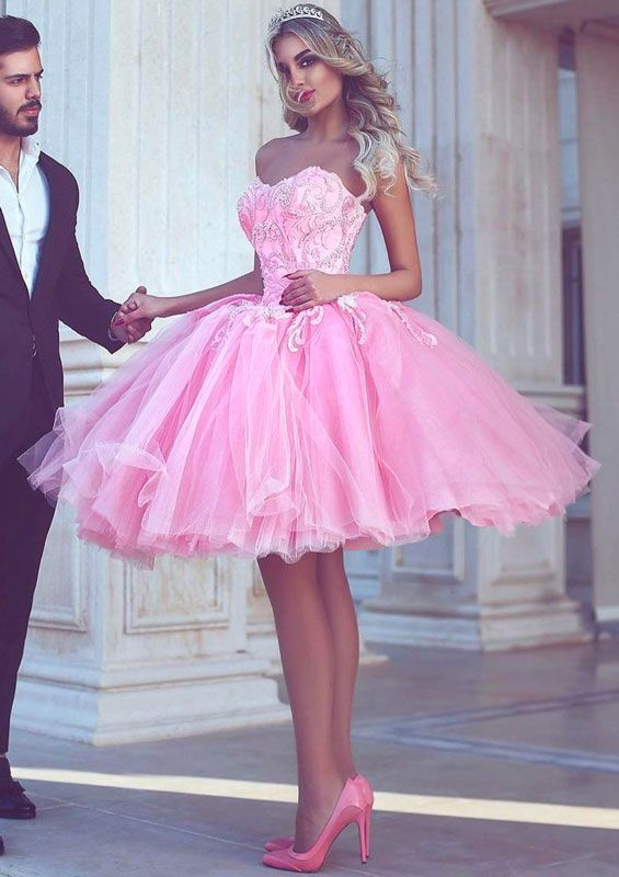 Cute pink sweetheart neck tulle short prom dress, cute homecoming dress