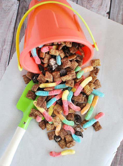 Make your kid's day with a big bucket of Dirt and Worms Chex Mix!