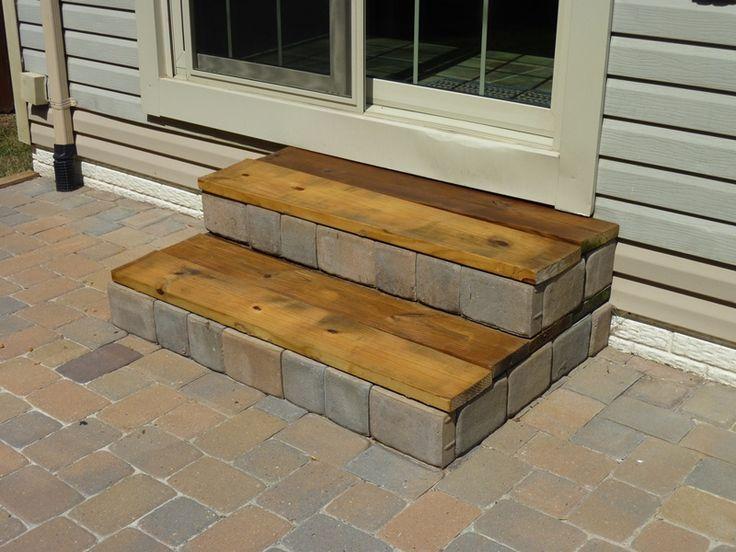 DIY Stairs! - interesting... kinda like the combo of bricks and wood....