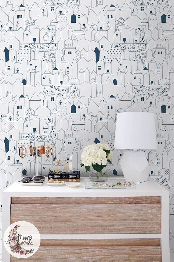 Neighbourhood Removable Wallpaper Houses Wall Decor Flats Etsy Home Wallpaper Removable Wallpaper Wall Decor