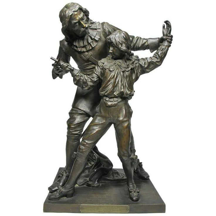 "19th Century Bronze Figural Group ""The Fencing Lesson"" by Adrien-Etienne Gaudez."