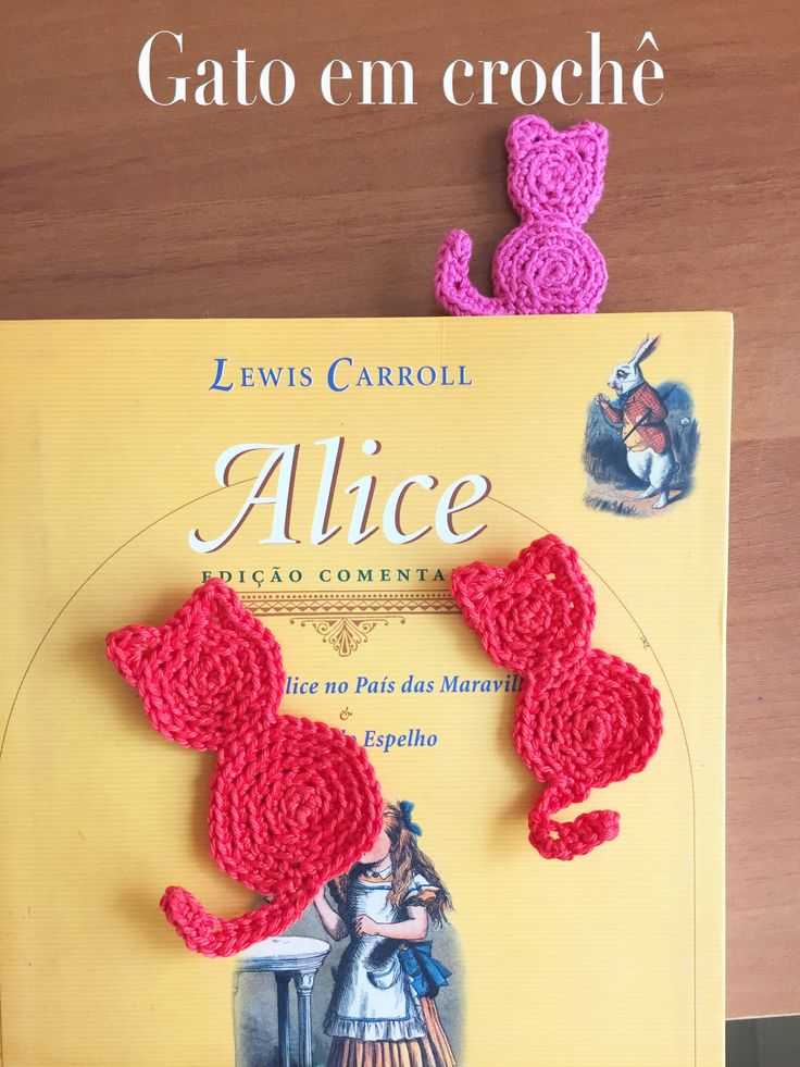 Gato de crochê: marcador de livros ou aplique!