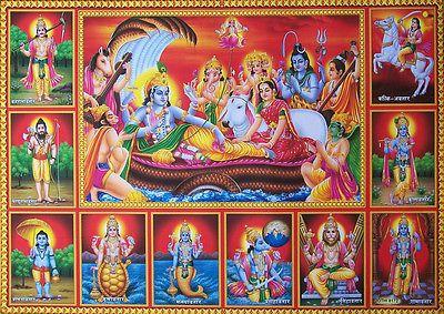 lord vishnu lakshmi amp vishnus avatars poster 20x30