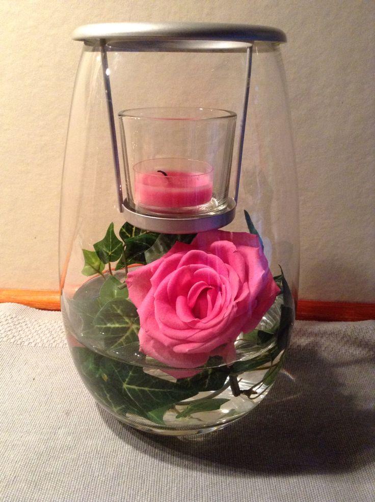 Lovely rose in a tealight holder
