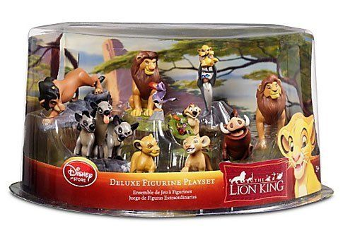 Disney The Lion King Exclusive 9 Piece Deluxe Figurine Playset by Disney. $77.99. Figures up to 4'' L. Ages 3+. Plastic/PVC. Set includes: Young Simba, Young Nala, Adult Simba, Mufasa with Zazu, Rafiki with Baby Simba, Pumbaa, Timon, Scar, and Shenzi with Banzai and Ed. Disney Store Exclusive Deluxe The Lion King Figure Play Set -- 9-Pc. This deluxe The Lion King play set includes everything needed to celebrate the Circle of Life. Nine toy figures include big and little Simba,...