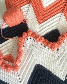 Daisy Farm Crafts: Single Crochet Chevron Baby Blanket | The colors and bobble trim on this baby blanket pattern are too cute to pass up!