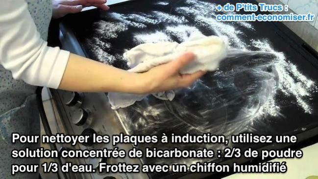 Pour nettoyer les plaques à induction, utilisez une  solution concentrée de bicarbonate