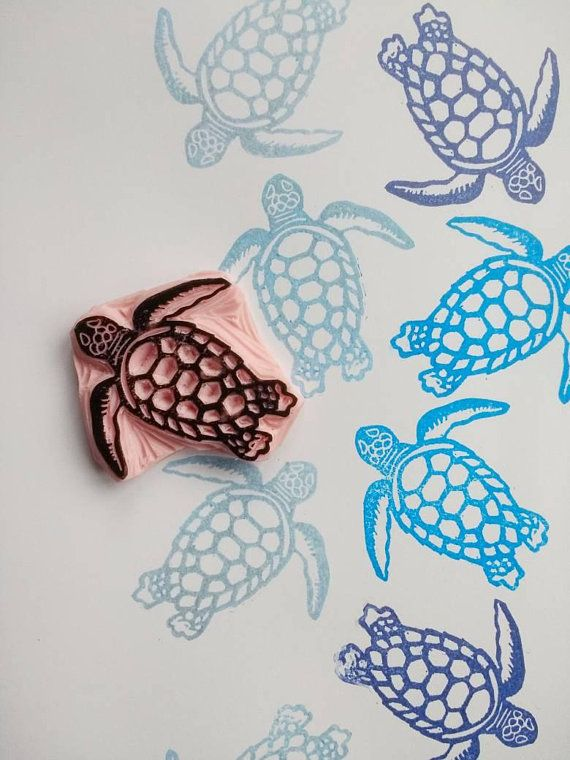 Turtle Rubber Stamp Tropical Sea Turtle Stamp Sealife