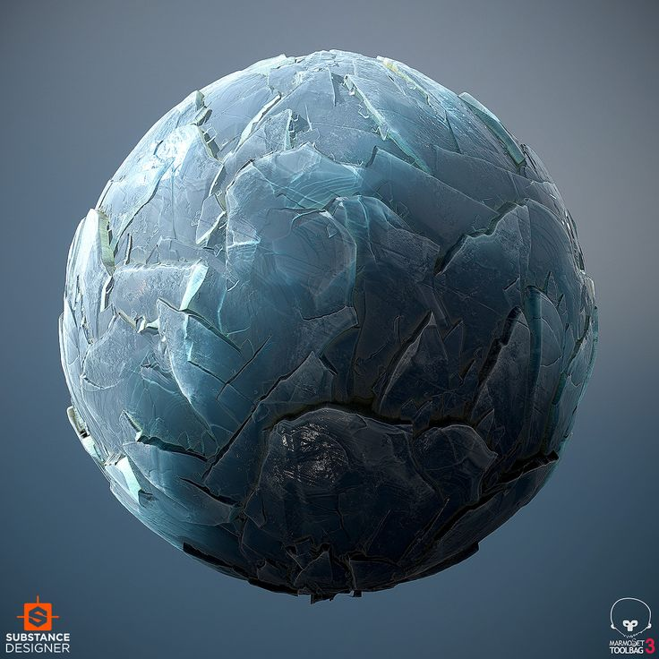 Material study of ice waves, which are cracked ice sheets that get washed ashore and piled up in interesting formations. 100% Substance designer, rendered in Marmoset.