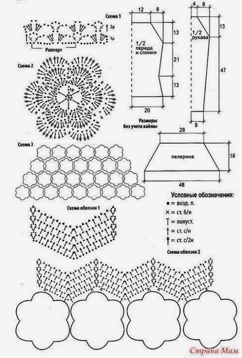 Crochet patterns: Awesome Flower Cape Style Blouse - Free Crochet Chart