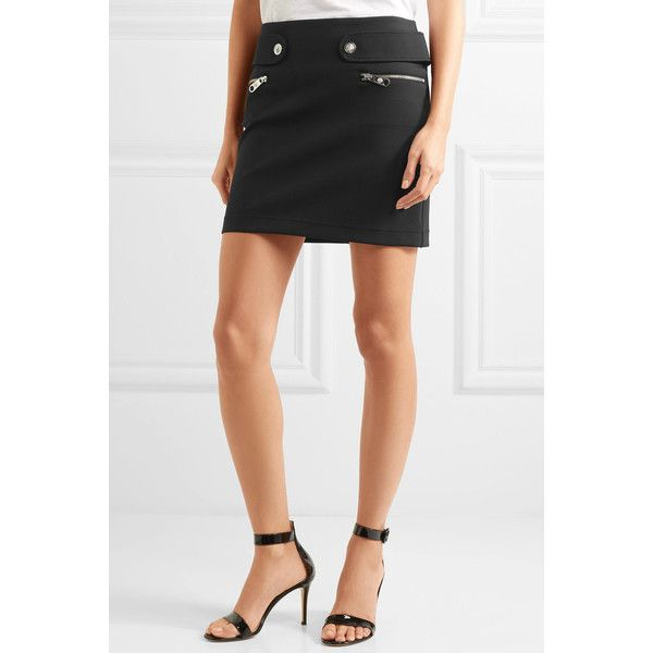 Versus Versace Neoprene mini skirt (€395) ❤ liked on Polyvore featuring skirts, mini skirts, stretch mini skirt, short mini skirts, neoprene skirt, white short skirt and short skirts
