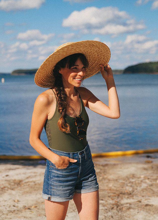 49e3b23effc beach style  one piece + denim shorts + wide brim hat