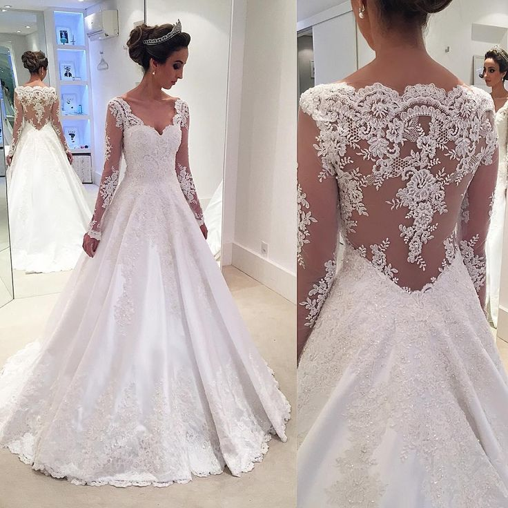 2016 Vintage Long Sleeve Wedding A Line Liques Lace Beaded V Neck Sheer Back Plus Size Bridal Gowns Vestidos De Novia