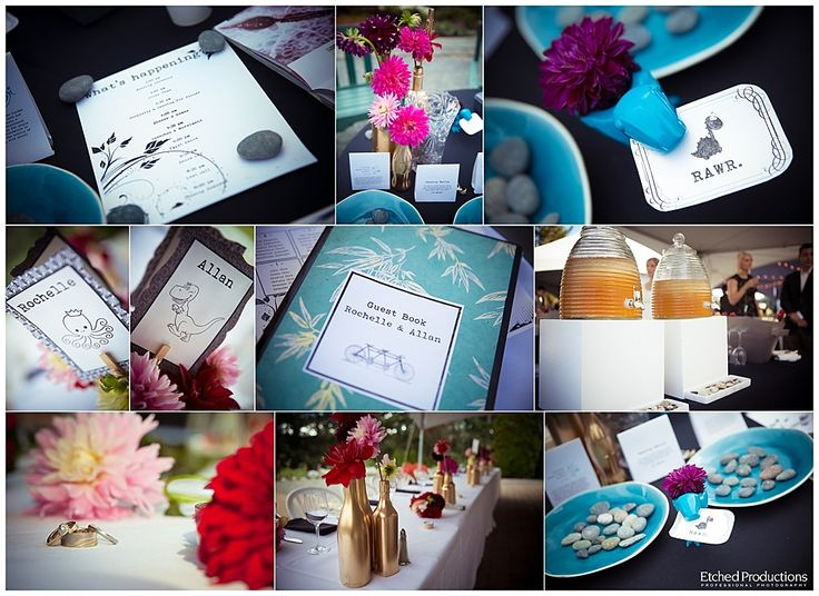 Teal or aqua wedding details. Photographed by Chuck Hocker of Etched Productions.