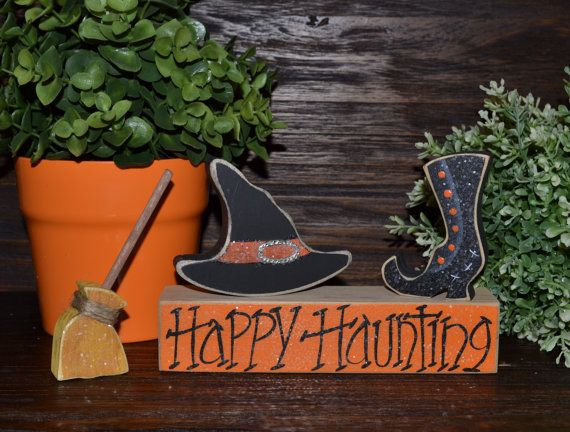 Halloween Block Set-Personalized Wood Block Love Set home decor primitive block gift holiday wood sign Happy Haunting Halloween Decor Ghost on Etsy, $12.99