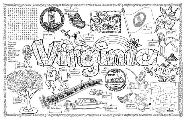 virginia state map coloring pages | Classroom pack of 30 coloring pages all about VIRGINIA ...