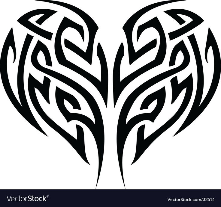 Tribal tattoo heart vector image on