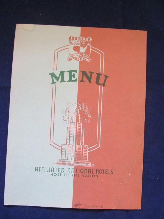 Vintage Hotel Cactus Menu Affiliated National by JuntiqueJunction
