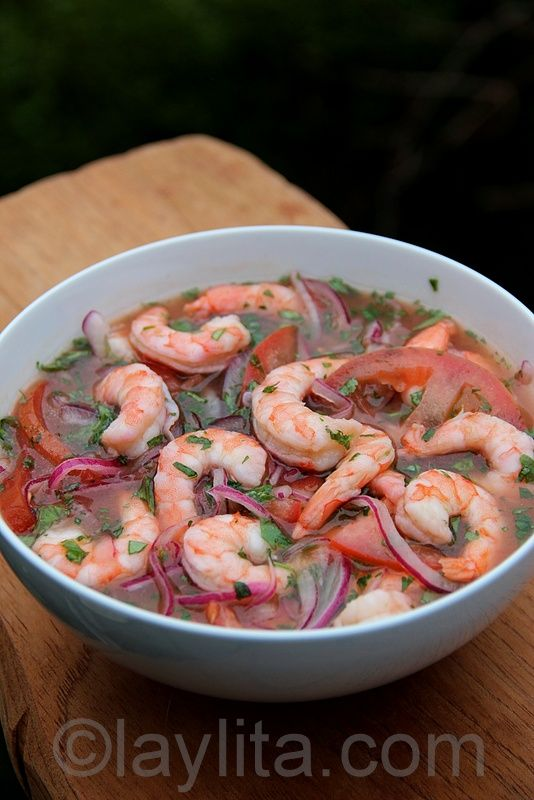 Classic recipe for Ecuadorian Shrimp Ceviche, a quick, easy and mouthwatering Latin dish.  Ceviche is usually served with garnishes such as thick green plantain chips called patacones or tostones. Chifles or thin green plantain chips are another popular garnish for ceviche. Another garnish is tostado de maiz, a crunchy corn nut type snack that goes great with this dish.