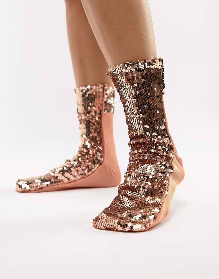 ec29db1cd ASOS DESIGN rose gold sequin sock  rosegold  sequin  socks  fashion ...