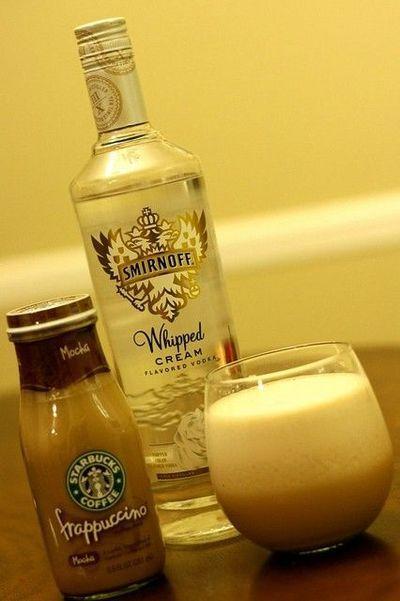 Starbucks Frappuccino and Whipped Cream Vodka. Yum!