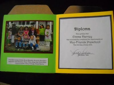 From: wmcraftgoodies.blogspot.com  I'm really big on making keepsakes with my little people, they are only little once! And graduation was no exception. I wanted something special that they could keep forever to remember the year that we had spent growing and learning and came up with these... with class photo, autograph page, teacher note and graduation certificate