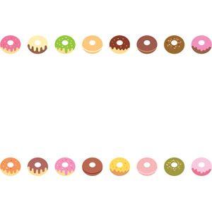 フリーイラスト, ベクター画像, AI, 背景, フレーム, 上下フレーム, 食べ物(食料), 菓子, 洋菓子, ドーナツ
