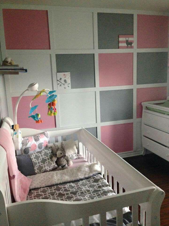 chambre bb rose et grise