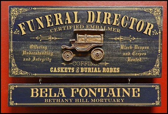Funeral Director Vintage Plank Nameplate Sign by KandKSales