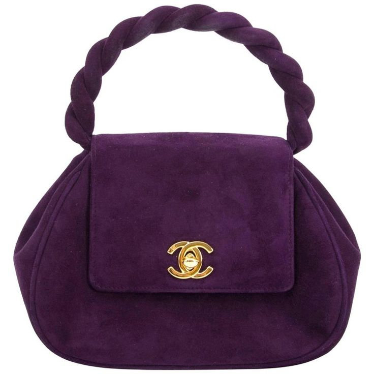 #Chanel Vintage Purple Suede Mini Evening Bag | From a collection of rare vintage top handle bags at https://www.1stdibs.com/fashion/handbags-purses-bags/top-handle-bags/